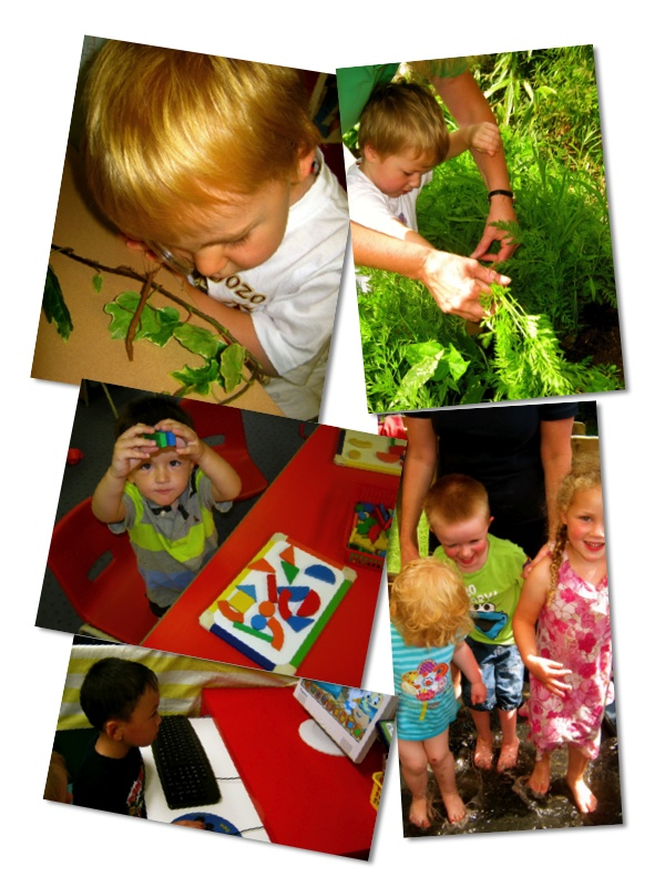 Collage of children learning
